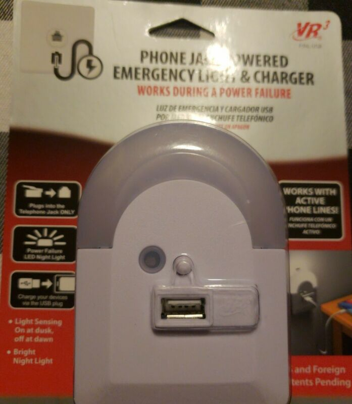Phone Jack Powered Emergency Night Light and Charger VR3 (Phone Line Needed) NEW