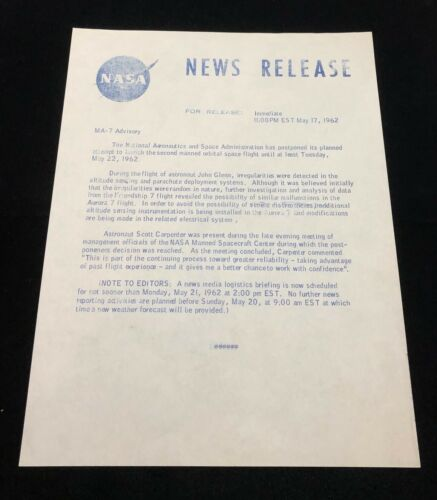 NASA 1962 MA-7 PRESS / NEWS RELEASE MARY BUBB