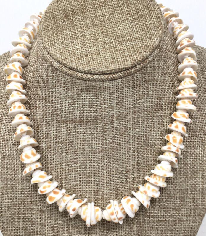"Vtg 70s Puka Necklace Large Cone Shell Surfer Jewelry Boho Chic Choker 16"""
