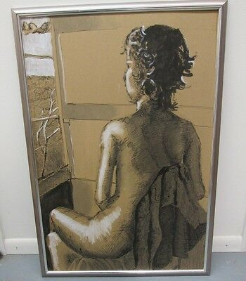 24 x 36 LARGE MIXED MEDIA SEMI NUDE BY CINCINNATI ARTIST ROGER VIECK 1950-2006