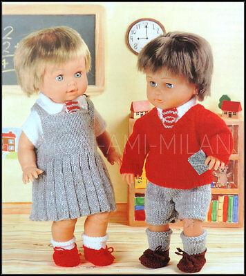"DOLLS CLOTHES SCHOOL UNIFORM Knitting Pattern COPY Pinafore Dress Etc 12-22"""