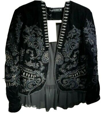 Rare Last XL NWT ZARA Black Embroidered Floral Velvet Jacket AW REF.6895/253 HTF