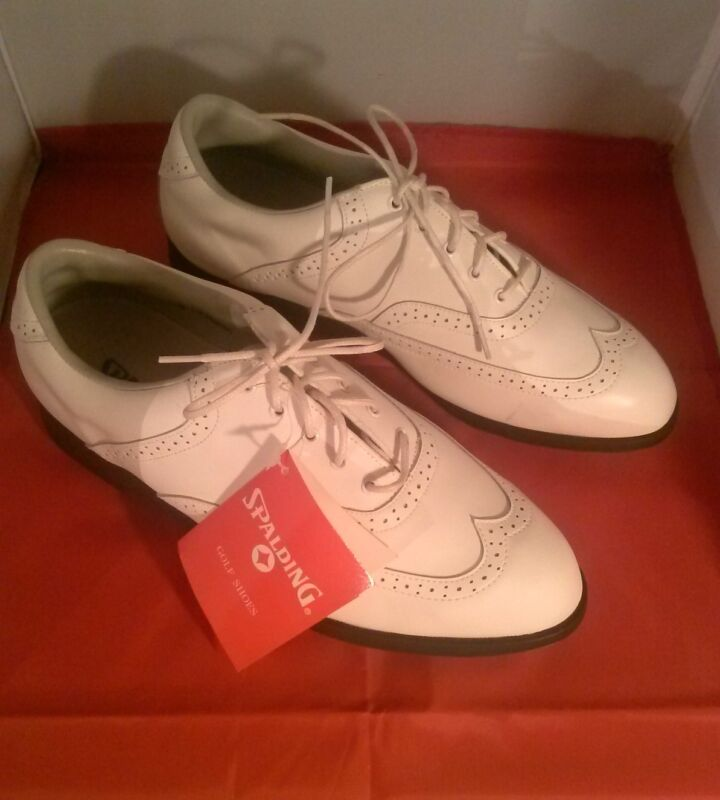 Spaulding Womens's Golf Shoes -White Leather Lace Up  Size 10 1/2 D - Brand New