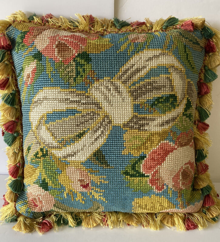 """Exquisite Luxury Pillow 16"""": Incredible Needlepoint with Fringe"""