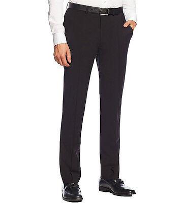 NEU CALVIN KLEIN Herren Schwarz 100% Wolle Flache Slim Fit Kleid Anzug Hose $150 (Herren Kleid Hose Slim Fit Wolle)