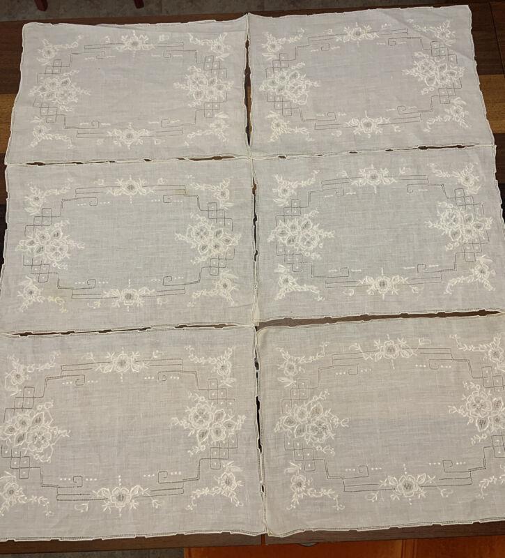 6 Antique Vintage Italian PLACEMATS Whitework Linen Hemstitch OPEN WORK