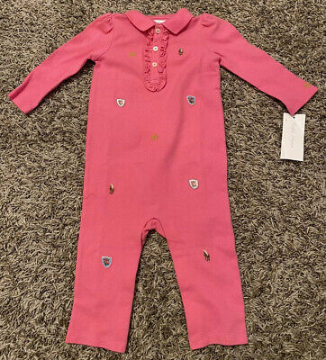 NEW Ralph Lauren Baby Girls One Piece Embroidered Pink Size 9 Months 9M NWT
