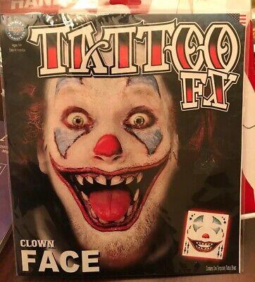 New Clown Face Temporary Tinsley Transfers Tattoo FX Makeup Scary Halloween NIP