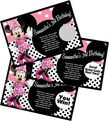 PINK MINNIE MOUSE PERSONLIZED SCRATCH OFF OFFS PARTY GAME CARDS BIRTHDAY FAVORS](Pink Minnie Mouse)