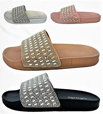 Ana-3 Women Rhinestone Crystal Bling Slides Flip Flops Sandals Flats