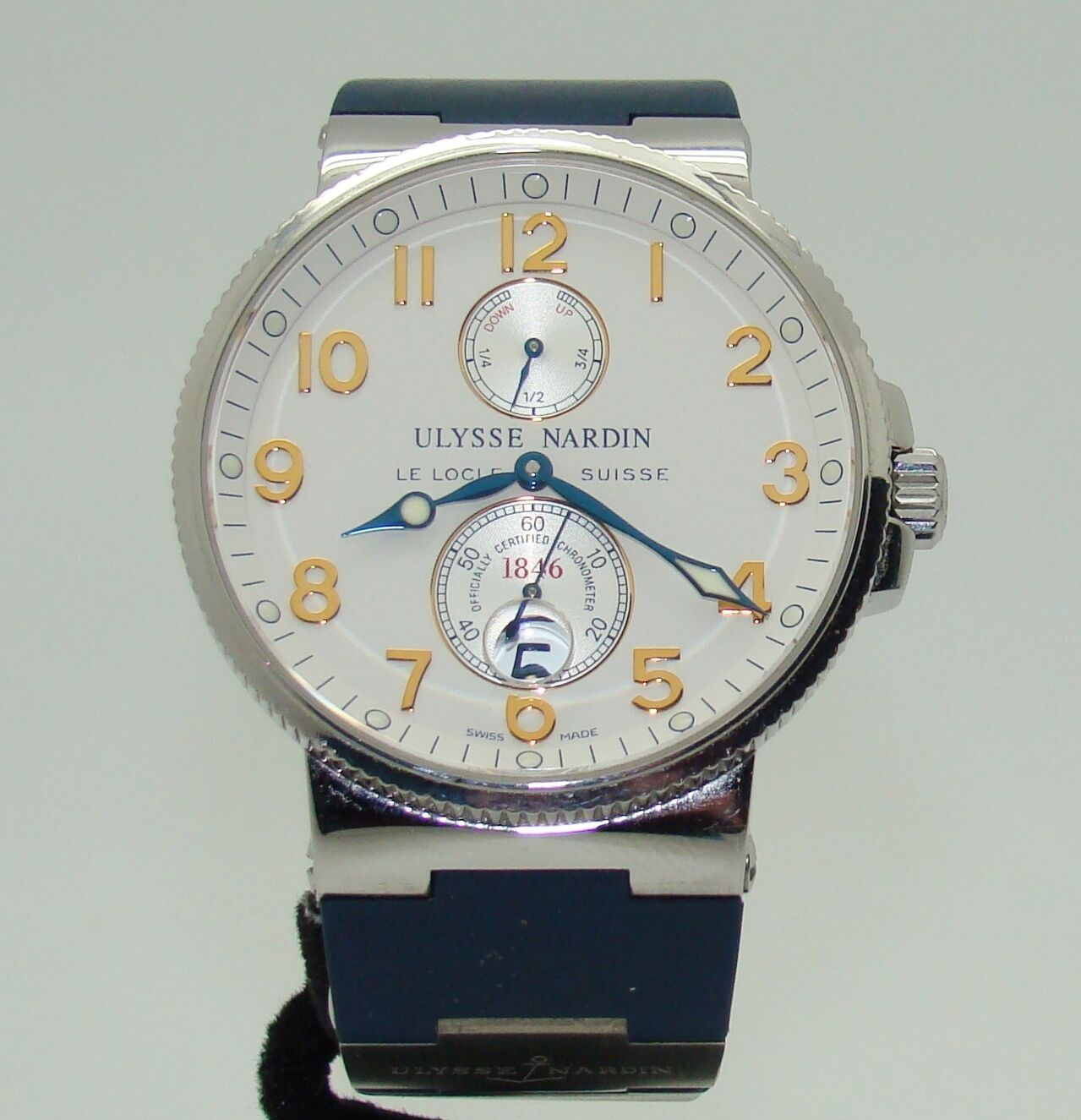 ULYSSE NARDIN MARINE CHRONOMETER AUTOMATIC WATCH wPOWER RESERVE INDICATOR & DATE - watch picture 1