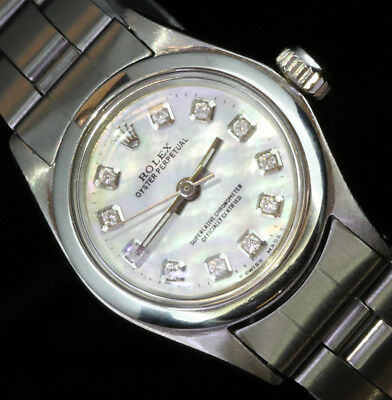 Rolex Ladies Oyster Perpetual Stainless Steel Diamond Dial Luxury Watch