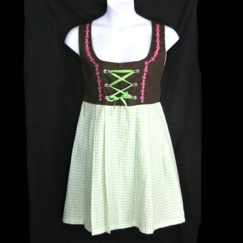 """Dirndl Dress 40 Trachten 39"""" Bust and 34"""" Waist Bavarian Oktoberfest Brown Green"""