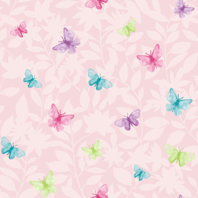 PINK BLUE PURPLE BUTTERFLY BUTTERFLIES DESIGNER FEATURE WALLPAPER RASCH 204414