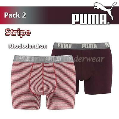 Puma Mens Stripe 0204 Boxer Short Briefs 2 Pack Red Grey Gifts For Him
