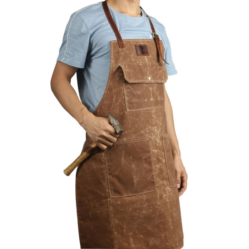 Tourbon Wax Canvas Work Shop Apron for Men/Women with Pockets Leather Strap