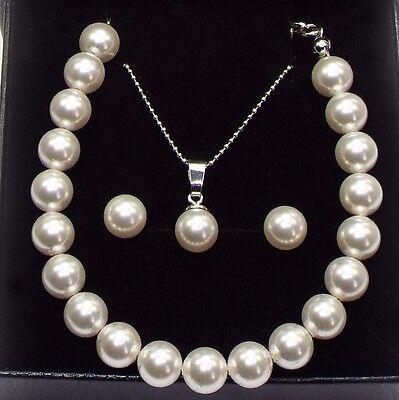 Damen Set Ohrstecker Halskette Armband 925 Sterling Silber Swarovski Perlen 8 mm