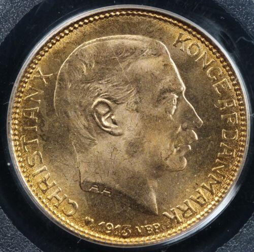 1913-VBP Denmark Gold 20 Kroner PCGS MS 66
