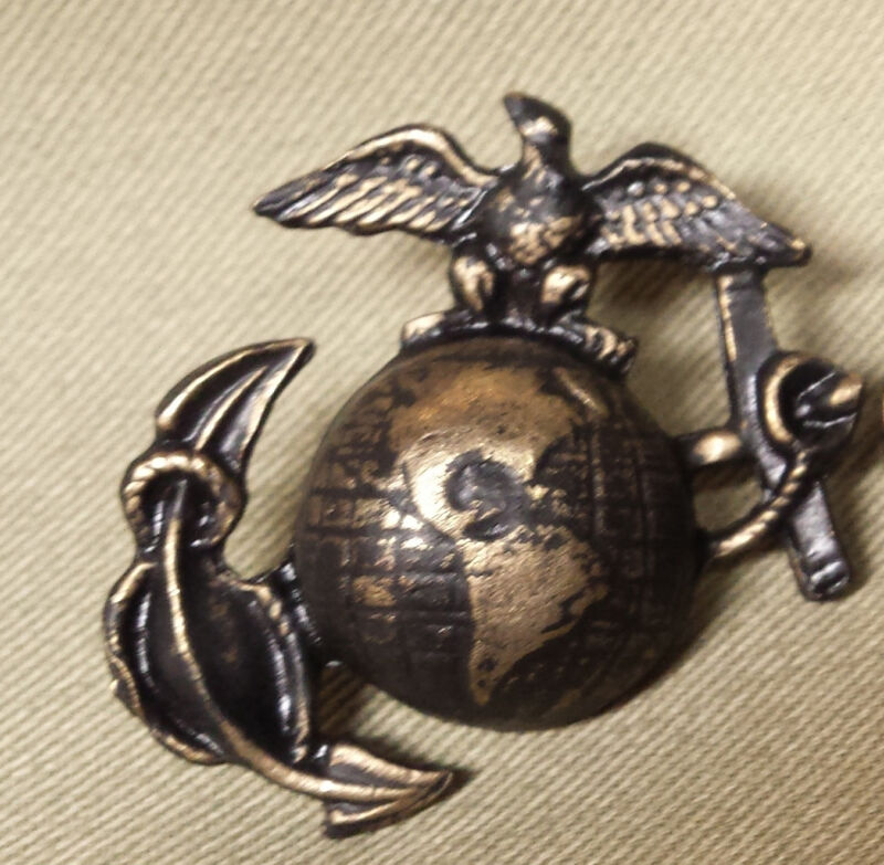 """WWI Reproduction USMC Eagle, Globe and Anchor """"SALTY"""" Hat Insignia"""