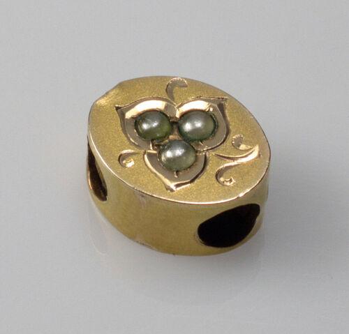 ANTIQUE VICTORIAN 14K GOLD PEARL OVAL SLIDE CHARM FOR BRACELET 002533