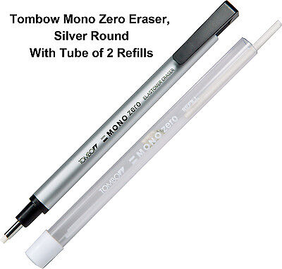 Tombow Mono Zero Eraser, Round Silver With Tube of 2 Eraser Refills