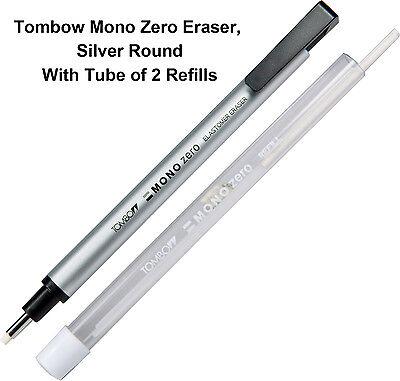 Tombow Mono Zero Eraser, Round Silver With Tube of 2 Eraser Refills