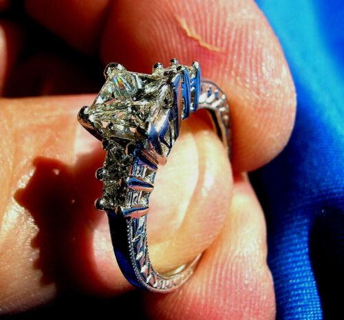 Deco Real Princess Diamond Engagement Ring Vintage Designer Platinum Solitaire