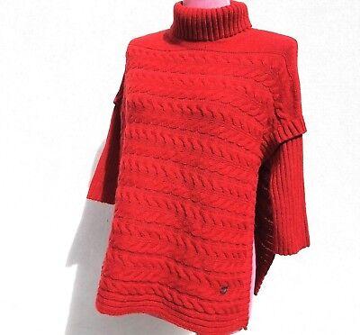 Carolina Pullover (Carolina Herrera Damen Zopfmuster Seitenschlitz Umhang Pullover Wolle/Angora)