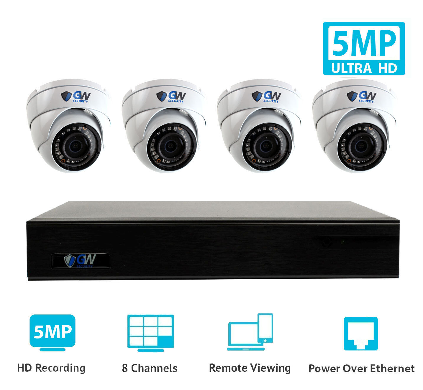 GW 8 Channel 8MP 4K NVR 4 5MP 1920P PoE IP Cam Home Dome Sec