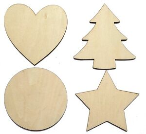 Solid-Wooden-Craft-Shapes-Wood-Tags-Heart-Star-Circle-Christmas-Tree-NO-Holes
