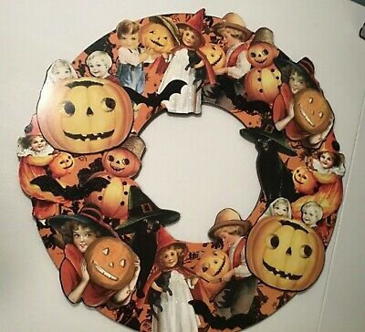 Bethany Lowe Halloween Die Cut Wood Wreath kid cat witch wall hanging large lot