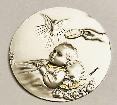 10 Baptism Repujado Metal Silver Tags For - Baptism Centerpieces