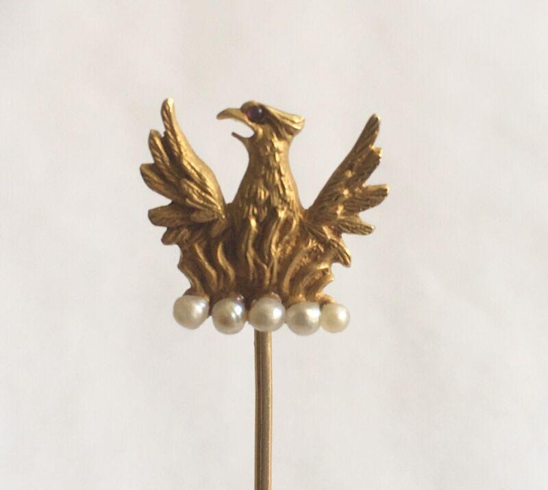 Antique Art Nouveau 14k Stick Pin, Eagle With Pearls