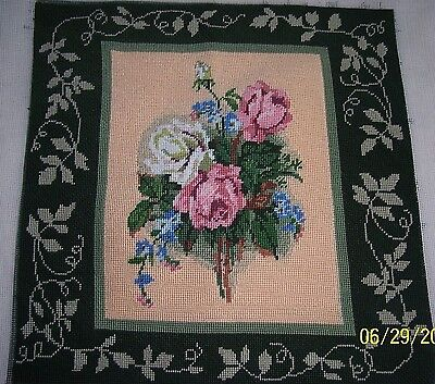 (Needle Point Pillow Top, Bouquet of Roses with Ornate Leaf Border, 14