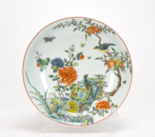 CHINESE QING KANGXI MK WUCAI FAMILLE VERTE FLOWER & BIRD PORCELAIN PLATE