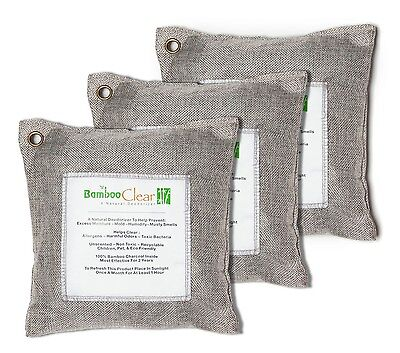 3 x 500g Bamboo Clear Natural Charcoal Deodorizer Air Purifying Bags ~ Silver