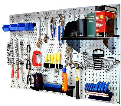 Wall Mount Peg Board Workbench Tool Organizer Accepts 14 Inch Hooks And Shelves