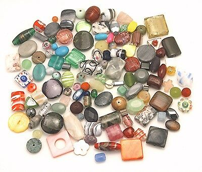 (Bulk Lot Assorted Mix Qty 125 Small to Med/Large Good Quality Stone Glass Beads )
