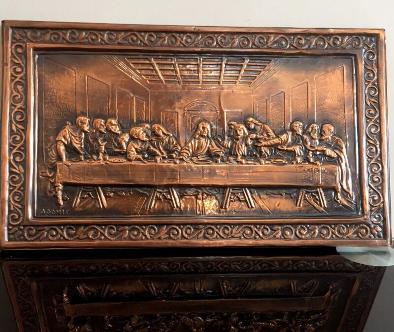 Halkoessa Last Supper Vintage Hand Beaten Copper Wall Plaque Christ Disciples