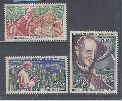 Dahomey 1966 Pope in UN  Sc C39-C41 Sound mint never  hinged