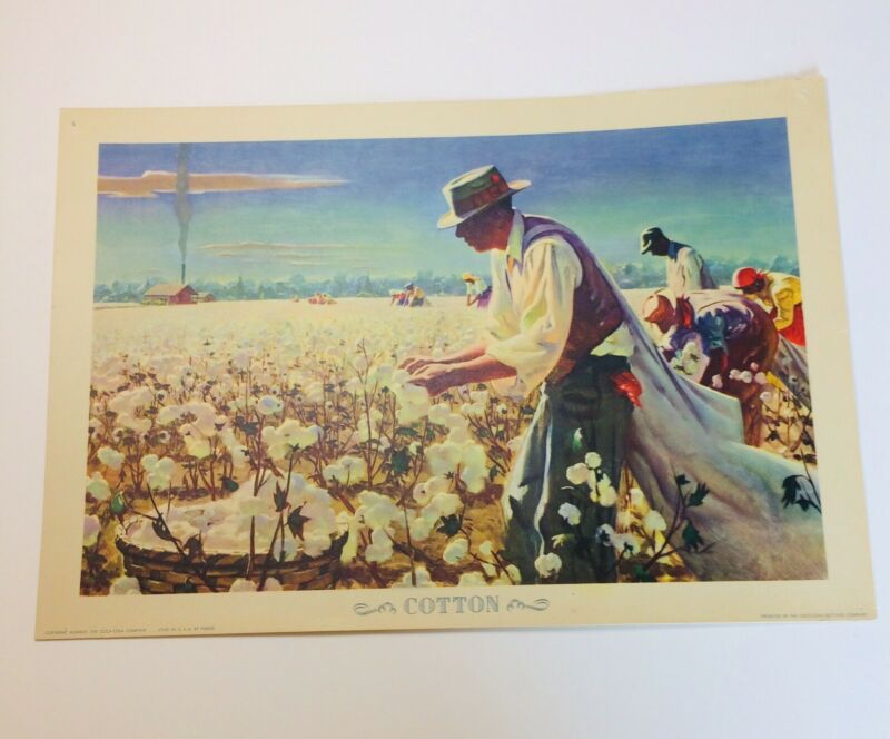 Our America COTTON picking harvest poster 1943 Coca-Cola Lithograph RARE