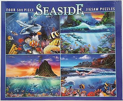 CEACO® 4 Pack 500pc SEASIDE • NAUTICAL • OCEAN • PUZZLES Jig Saw USA - Puzzles Usa