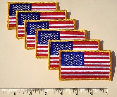 """Patriotic US USA United States American Flag Embroidered Patch 3.5x2/"""" 6-pack"""