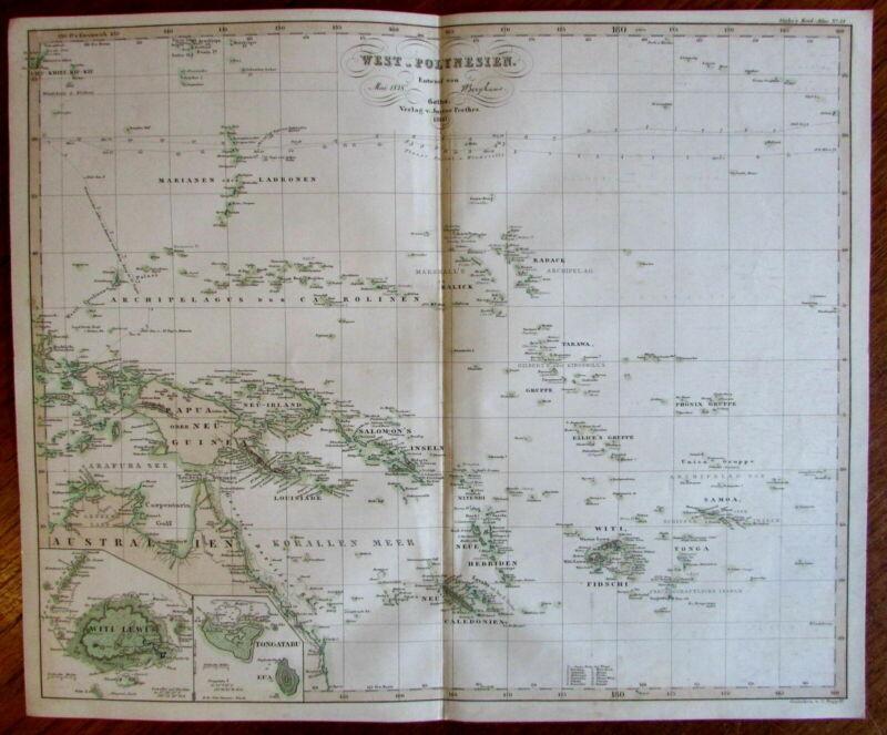 Australia West Polynesia Papua New Guinea Witi Lewi 1860 Berghaus scarce old map
