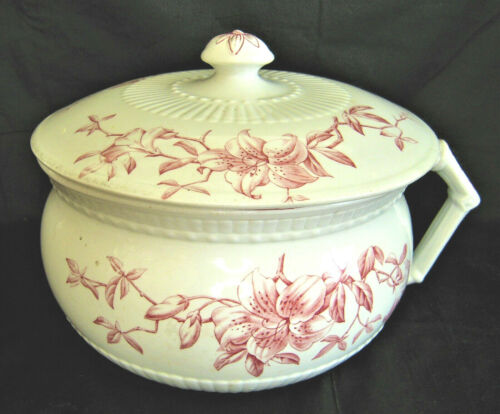 Antique Johnson Bros Chamber Pot w/Lid FLORAL Red Transferware Semi-Porcelain