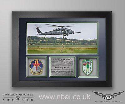56th Rescue Squadron Patch FRAMED PRESENTATION, RAF Lakenheath 48th FW