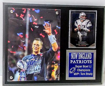 New England Patriots Super Bowl 51  Mvp Tom Brady  Sport Card Plaque 8  X 10