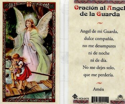 Oracion al Angel de la Guarda Guardian Angel Spanish Prayer Card - HC9-047S