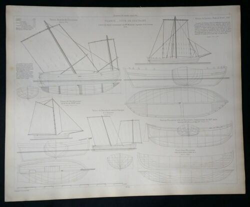 BLUEPRINT FRENCH NAUTICAL MUSEUM, Plan #38 , 1878 SHIP, Geisendorfer 1890