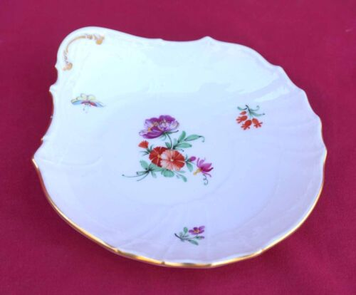 KPM Berlin Hand Painted Porcelain Individual Oyster Plate Flowers Gilt 19th C